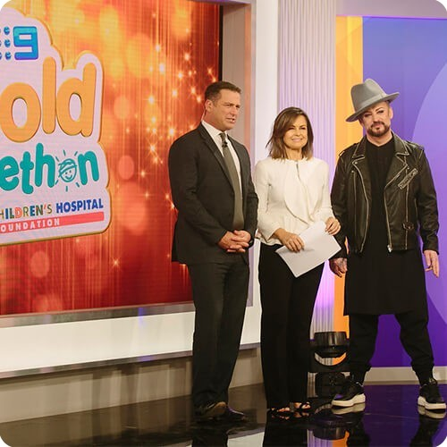 Karl Stefanovic, Lisa Wilkinson and Boy George at Gold Telethon 2017