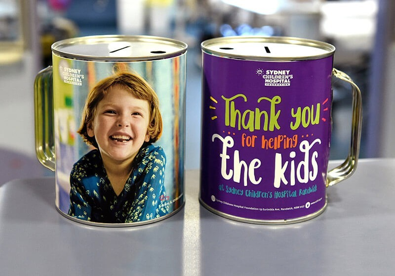 Collection tins - Sydney Children's Hospital Foundation
