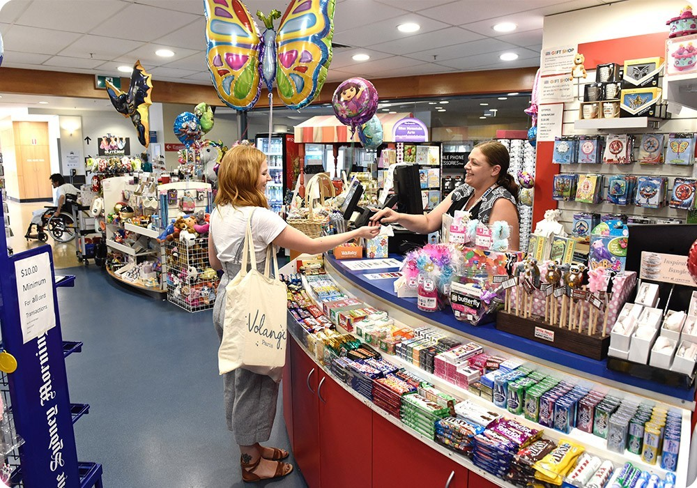 Customer in gift shop at Sydney Children's Hospital, Randwick